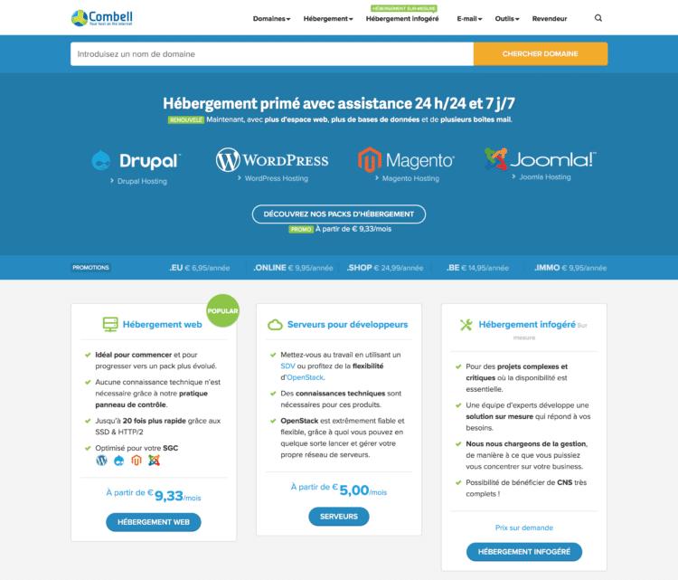 hébergeur web belge combell